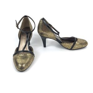 Life Stride Women's Officer Pumps Gold T-Strap 9.5